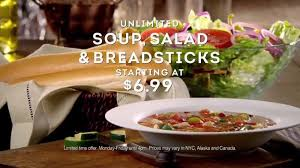 olive garden unlimited soup salad breadsticks tv commercial never too much