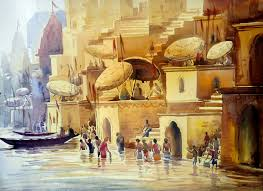 indian scenery paintings painting village landscape artwork no 7477 by indian artist