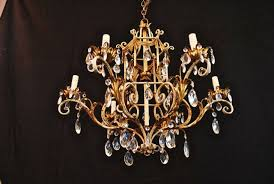1950 italian wrought iron and crystal chandelier in good condition for in los angeles