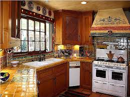 ... lovely mexican kitchen color with light brown tile countertop and  decorative hood ...