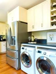 washer dryer over front load and beach style kitchen simple wood countertop ideas laundry room 9
