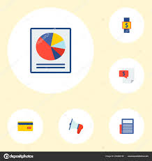Smart Chart App Set Of Finance Icons Flat Style Symbols With Credit Card