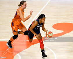 Stella Johnson of the Washington Mystics is fouled by Alanna Smith of...  News Photo - Getty Images