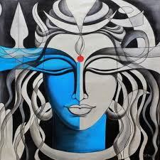 mighty lord shiva signed indian painting of hinduism deity shiva