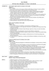 Resume Sample For Restaurant Restaurant General Manager Resume Samples Velvet Jobs 22