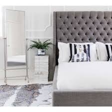 Stand Alone Mirror Bedroom Studs Buttons Grey Upholstered Bed King Size French Bed