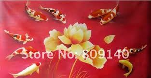 feng shui art for office. Koi Oil Painting Canvas Decorative Fish Feng Shui Japanese Art Modern Hand Painted Home Office Hotel Wall Decor Free Shippin For