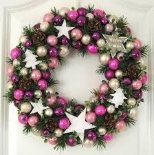 Türkranz Weihnachten Rosa Weiß Lila 33cm Kugelkranz Kranz