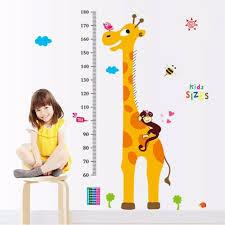 Kids Height Chart Details About Cartoon Giraffe Wall Decal Height Chart Wall Sticker Kids Height Measuring Eleh