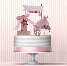 Amazoncom First Birthday Cake Topper Set For Baby Girl Pink Bow