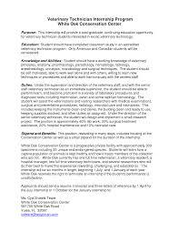 Cover Letter Vet Internship Adriangatton Com