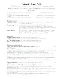 Sample Resume Format For Software Engineer