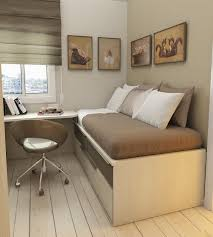 Small Bedroom Furniture Designs Small Room Wooden Reversible Bed On High Oak Shelves For Small