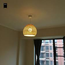 hand woven wicker rattan round basket shade pendant light fixture with regard to decorations 19