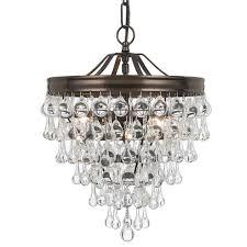 crystorama calypso 3 light crystal teardrop bronze mini chandelier
