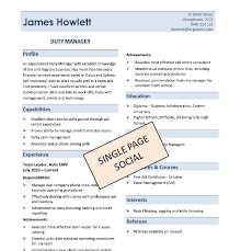 Single Page Resume Template Best Single Page Resumes Engneeuforicco