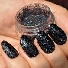 Holographic Laser Black Nail Art Glitter Colorful Shiny Under ...