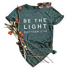 Womens Chest Size Chart Cm Anbech Womens Be The Light Matthew Christian Shirt Faith Base T Shirt Short Sleeve Tee