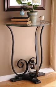 decorative gorgeous iron long console table with drawers and half moon accent table with brown wall