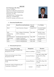 RESUME Dr.N.Natarajan, M.E, Ph.D., Professor and ...