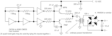 high voltage circuits for driving an audio transformer the circuit will work well other power supply voltages but do not exceed the voltage rating of the cmos gates