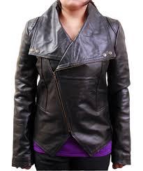 women s big collar black biker leather jacket