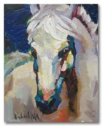 white horse painting original oil painting on canvas 15 7 x 19 7 impasto