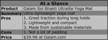 Yoga Mat Comparison Chart Product Review Gaiam Sol Bhakti Ultralite Rubber Yoga Mat