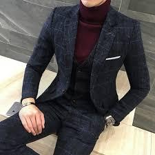 Suit Coat Pant Design 3pc Suit Men British Styl Latest Coat Pant Designs Royal Blue Mens Suit Autumn Winter Thick Slim Fit Plaid Wedding Dress Tuxedos