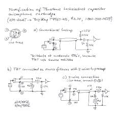 microphone circuits electronics tutorial and schematics drawing describes the conventional hookup and option where fet is connected as source follower 3 wires to preamp