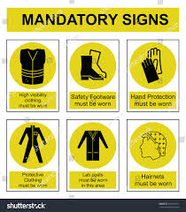 Yellow Stock Isolated Mandatory 437169151 royalty Shutterstock Vector Safety Sign - Free Set