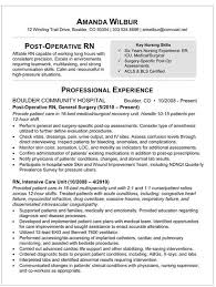 Surgical Nurse Resume Med Surg Rn Resume Sample Resume For Post Op Nurse
