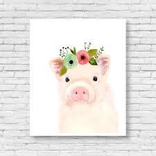 watercolor baby pig nursery art animal paintings farm animals watercolor animal kids posters prints nursery farm animals