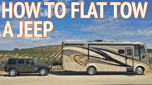 how to flat tow a jeep wrangler behind an rv youtube dinghy towing harness at Wiring Tow Vehicle Behind Rv
