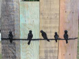 Reclaimed Wood Art Birds On A Wire Wall Hanging Rustic Wall Decor Reclaimed Wood