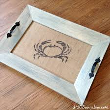 Tutorial to make a DIY coastal picture frame serving tray with a stenciled  burlap crab under