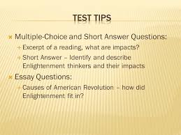 apush review the enlightenment ppt video online  test tips multiple choice and short answer questions essay questions
