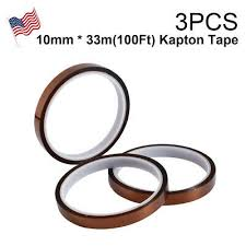 3X 10mm <b>100ft Kapton Polyimide</b> Tape <b>Adhesive</b> High Temperature ...