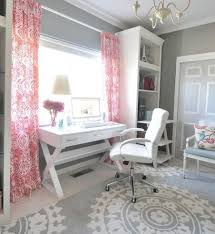 feminine home office use colorful patterned drapes to add interest to a space filled add home office