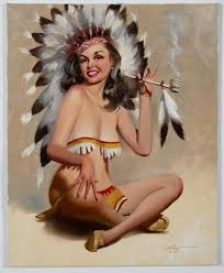 """Sold Price: Donald Rusty Rust """"Sonsearay"""" Oil On Canvas Pinup ..."""
