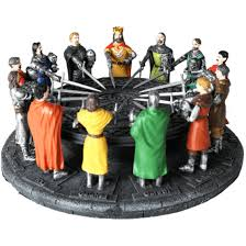 full color knights of the round table statue