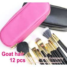 professional 12pcs face makeup brush set with rose pink zipper leather bag make up brushes whole