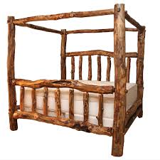 Log Beds: Queen Size Aspen Creek Canopy Bed|Black Forest Decor