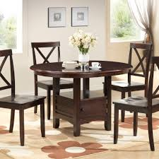 round dining table set 5pc room furniture small space wood inside decorations 3
