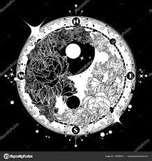 Yin A Yang Tetování Umění Vektoru Boho Styl Mandala Stock Vektor