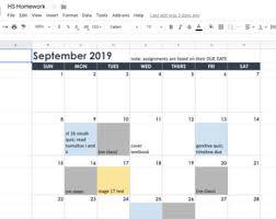 Homework Calendar Excel Homework Calendar Excel Google Sheets 2019 2020