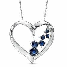 blue sapphire and diamond accent journey heart pendant in 14k white gold