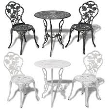 3pc outdoor setting cast aluminium bistro table chair vintage patio green white