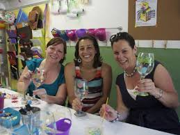 4 girls night in wine glass painting party