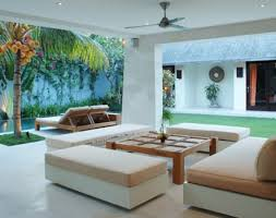 Tropical Living Room Furniture Tropical Interior House With Lounge Sofa White And Beige Color